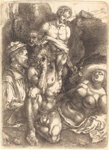 Albrecht Dürer: Studienblatt mit fünf Figuren (Der Verzweifelnde). Eisenradierung, um 1515. National Gallery of Art, Washington.