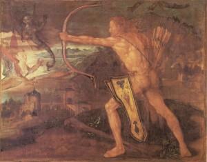 Albrecht Dürer: Herkules und die Harpyien. Tempera auf Leinwand, 1500. 87 x 110 cm. Germanisches Nationalmuseum, Nürnberg (Leihgabe der Bayerischen Staatsgemäldesammlungen München).