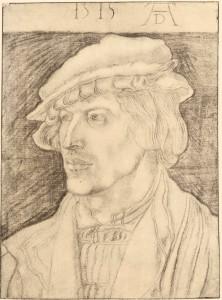 Albrecht Dürer: Bildnis eines jungen Mannes. Kohlezeichnung, 1515. Kupferstichkabinett, Berlin.