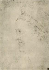 Albrecht Dürer: Porträt Willibald Pirckheimer, um1503. Silberstiftzeichnung. Berlin, Kupferstichkabinett.